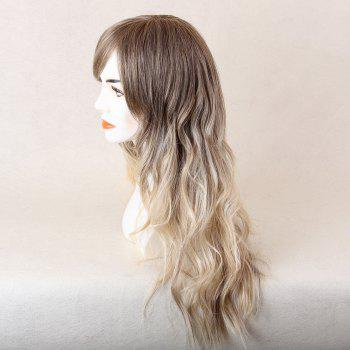 Long Oblique Bang Colormix Beach Wave Human Hair Wig - WHITE / GREY