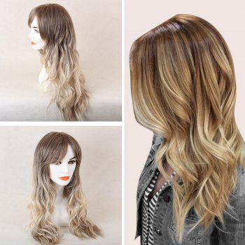 Long Oblique Bang Colormix Beach Wave Human Hair Wig