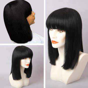 Medium Straight Full Bang Bob Human Hair Wig - JET BLACK 01# JET BLACK