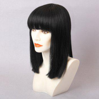 Medium Straight Full Bang Bob Human Hair Wig -  JET BLACK