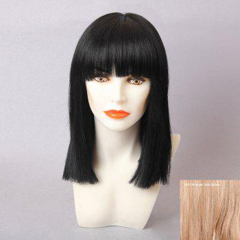 Medium Straight Full Bang Bob Human Hair Wig