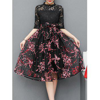 Lace Insert Floral Print Midi Dress