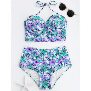 High Waist Tropical Floral Bikini