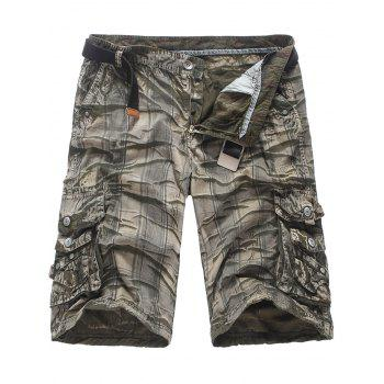 Zip Fly Pockets Checked Cargo Shorts