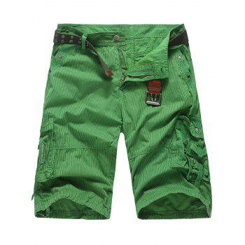 Zipper Fly Pockets Stripe Cargo Pants
