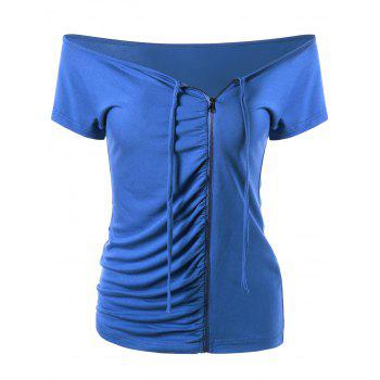 Ruched Off The Shoulder Zip Up T-Shirt