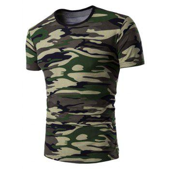 Crew Neck Stretchy Camo T-Shirt