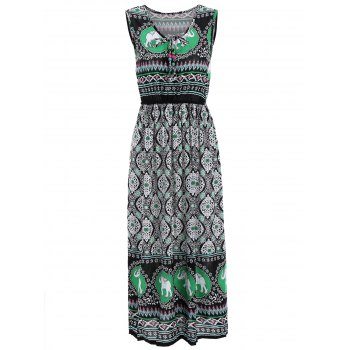 Elastic Waist Elephant Print Sleeveless Midi Dress