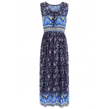 Elastic Waist Sleeveless Indian Print Midi Dress