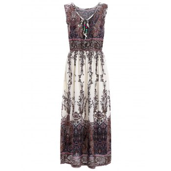 Paisley Print Sleeveless Elastic Waist Midi Dress