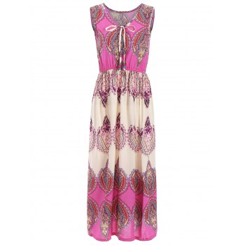 Sleeveless Elastic Waist Indian Print Maxi Dress