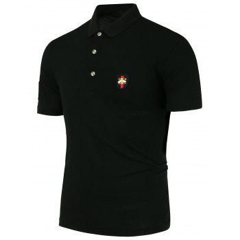 Half Button Design Metal Bee Embellishment Polo Shirt