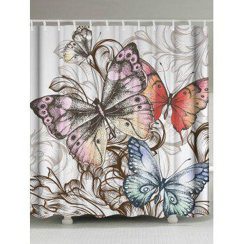 Butterfly Printed Fabric Shower Curtain