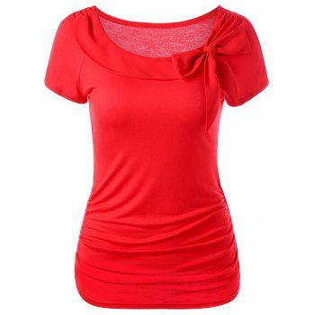 Ruched T-Shirt With Bowknot