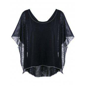 Dolman Sleeve Ruffled Layered Asymmetric T-Shirt