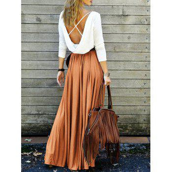 Long Sleeve Backless Maxi Pleated Flowy Dress