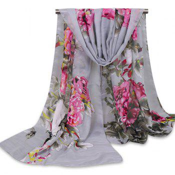 Chinoiserie Wash Painting Flowers Shawl Scarf