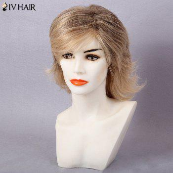 Siv Hair Medium Side Bang Colormix Slightly Curled Tail Upwards Human Hair Wig