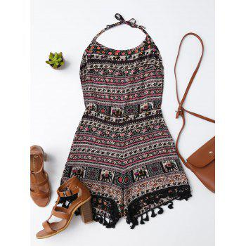 Tassel Open Back Tribal Print Romper