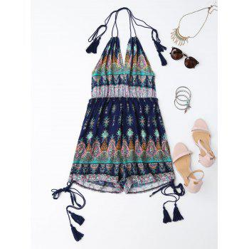 Backless Halter Tribal Print Romper