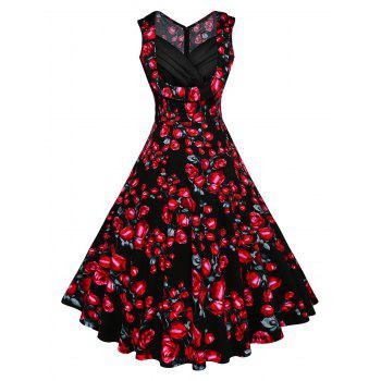 Vintage Floral Printed Fit and Flare Dress