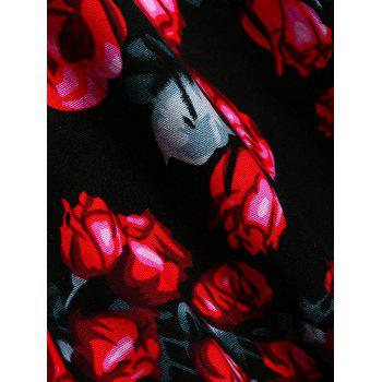 Vintage Floral Printed Fit and Flare Dress - RED M