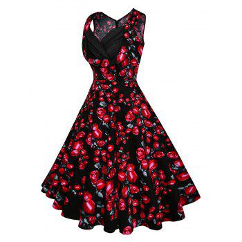 Vintage Floral Printed Fit and Flare Dress - RED S