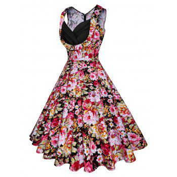 Vintage Floral Printed Fit and Flare Dress - PINK 2XL