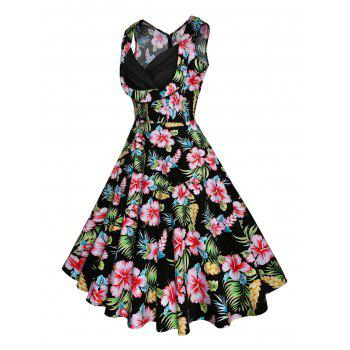 Vintage Floral Printed Fit and Flare Dress - GREEN XL