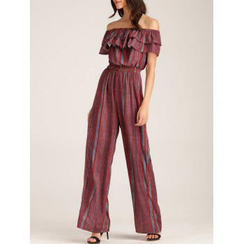 Ruffle Layer Off The Shoulder Striped Jumpsuit