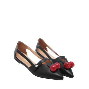 Hollow Out Cherry Embellishment Flat Shoes