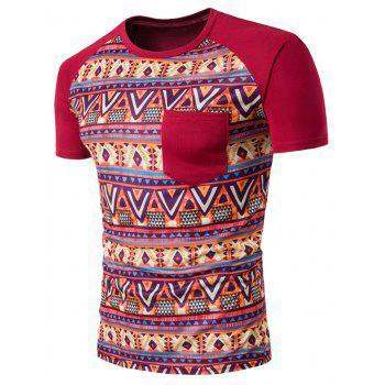 Raglan Sleeve Casual Tribal Printed T-Shirt