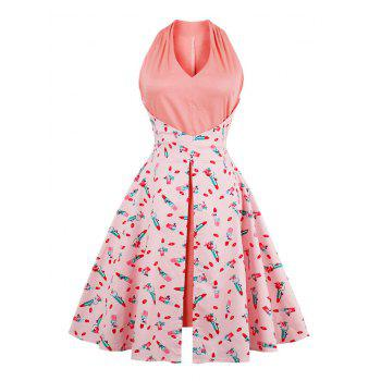 V Neck Lip Print Vintage Dress