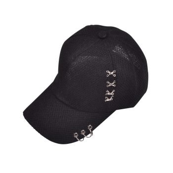 Metallic Circles Cross Rivet Baseball Hat