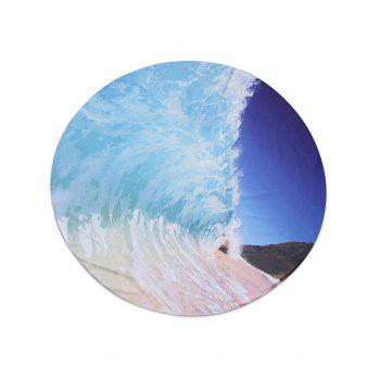 Round Fabric Sea Wave Print Beach Throw