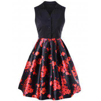 Retro Floral Knee Length Dress With Bow Tie
