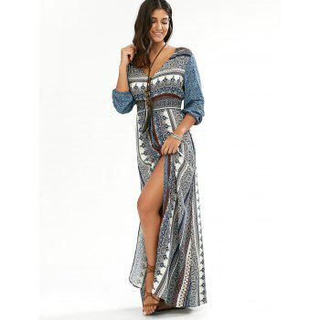 Empire Waist Button Down Flowy Beach Bohemian Maxi Dress - BLUE S