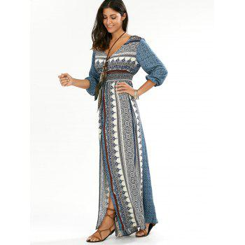 Empire Waist Button Down Flowy Beach Bohemian Maxi Dress - BLUE M