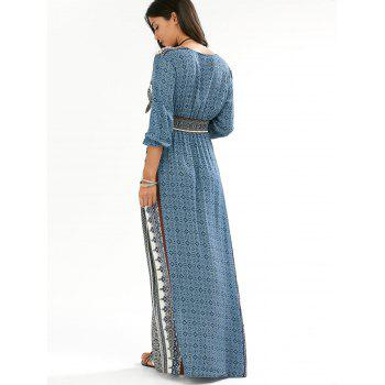 Empire Waist Button Down Flowy Beach Bohemian Maxi Dress - BLUE L