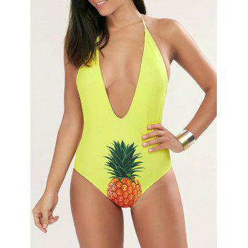 Halter Pineapple Plunge One Piece Swimsuit