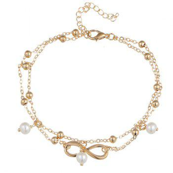 Fake Pearl Beads 8 Shape Double Layered Anklet - GOLDEN GOLDEN
