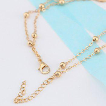 Fake Pearl Beads 8 Shape Double Layered Anklet - GOLDEN