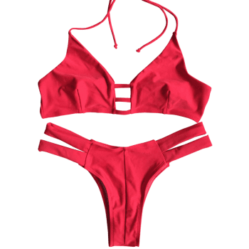 Banded Strappy Bikini - RED M