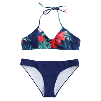 Tropical Print Bikini Bathing Suit - PURPLISH BLUE S