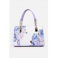 Chain Detail Flower Print Handbag