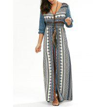 Empire Waist Button Down Flowy Beach Bohemian Maxi Dress