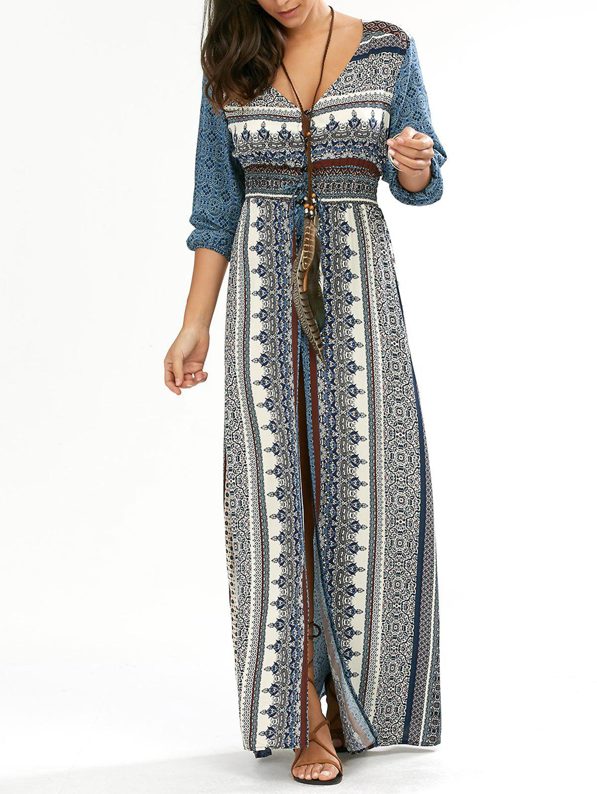 Empire Waist Button Down Flowy Beach Bohemian Maxi Dress - BLUE XL