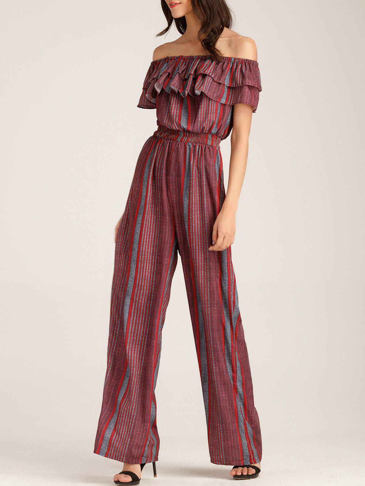 Ruffle Layer Off The Shoulder Striped Jumpsuit - GRAY/RED L
