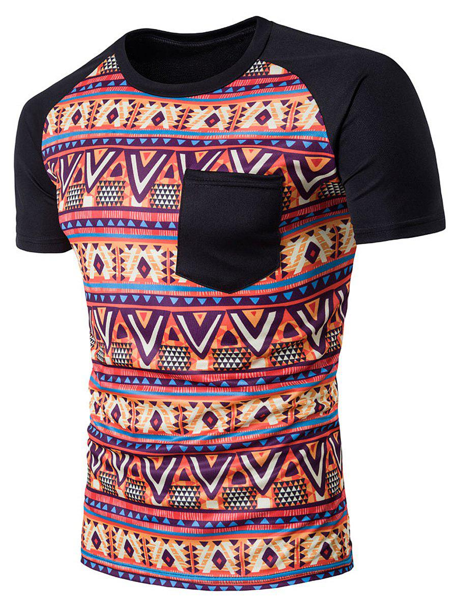 Raglan Sleeve Casual Tribal Printed T-Shirt - BLACK L