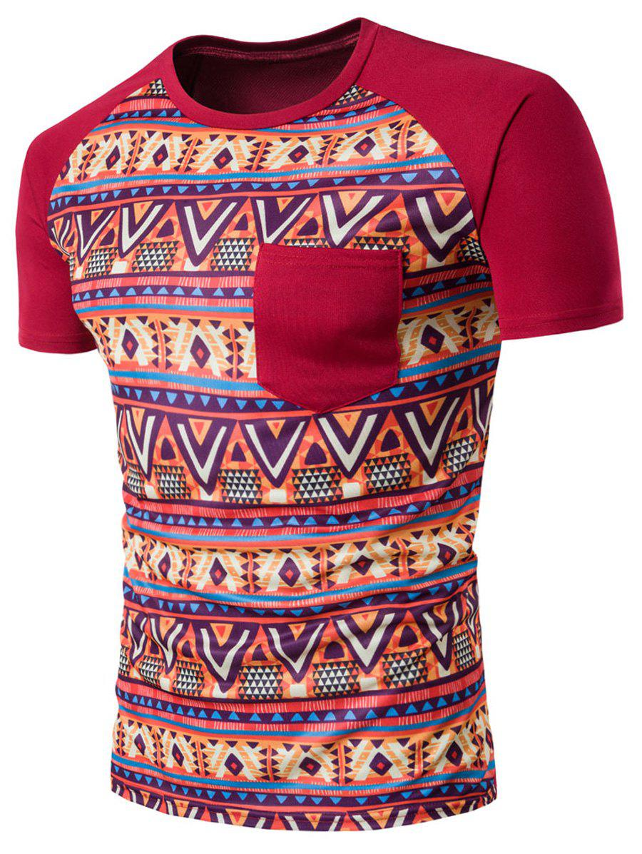 Raglan Sleeve Casual Tribal Printed T-Shirt - RED 2XL